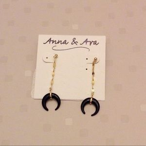 Trendy Gold and Black moon earrings
